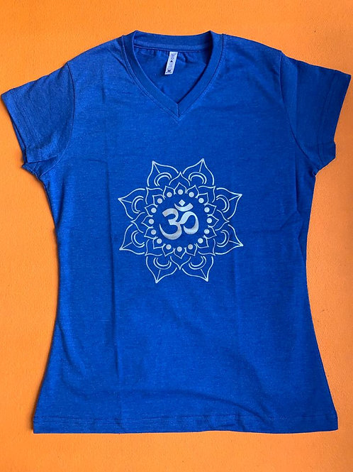 Silver Om T Shirt Ladies Light Blue