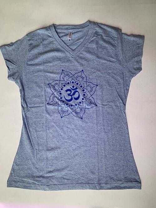 Blue Om T Shirt Ladies Light Blue