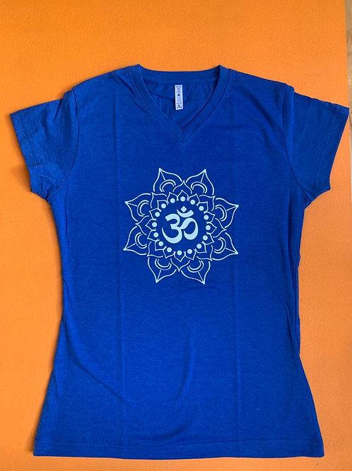 White Om T Shirt Ladies Light Blue