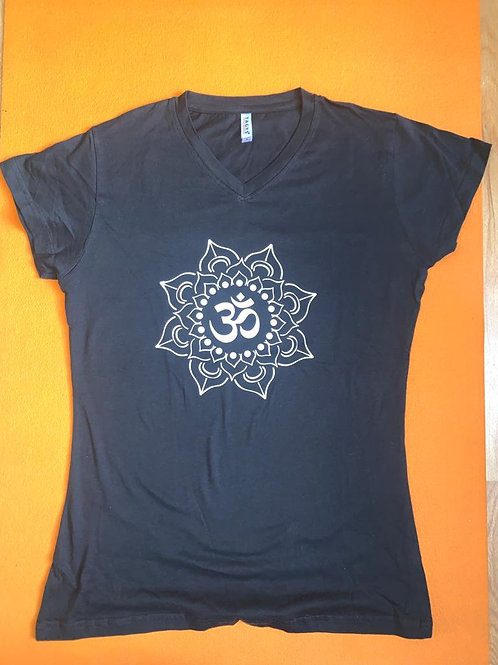 White Om T Shirt Ladies Black