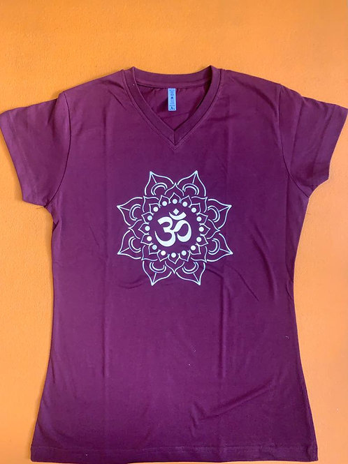 White Om T Shirt Purple