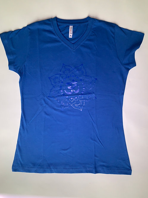 Blue Om T Shirt Ladies Blue