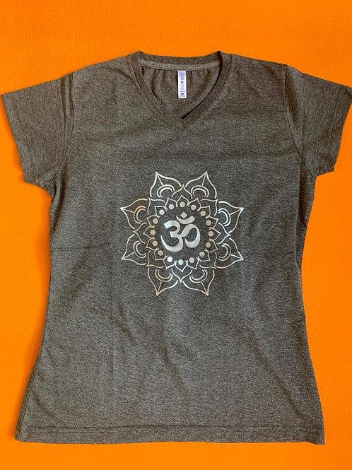 Silver Om T Shirt Ladies Grey