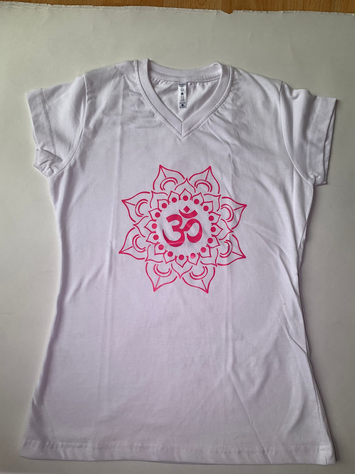 Pink Om T Shirt Ladies White