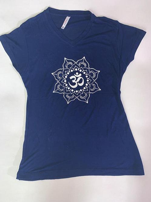 White Om T Shirt Ladies Navy soft fabric