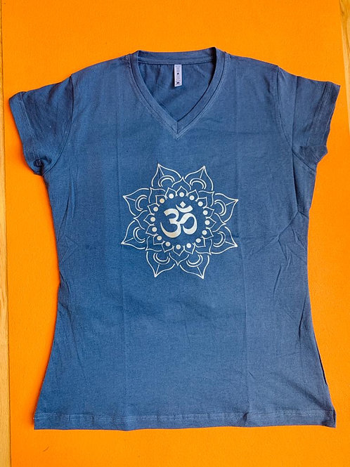 Gold Om T Shirt Ladies Dark Blue