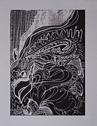 Scrunchy Dragon Screen Print