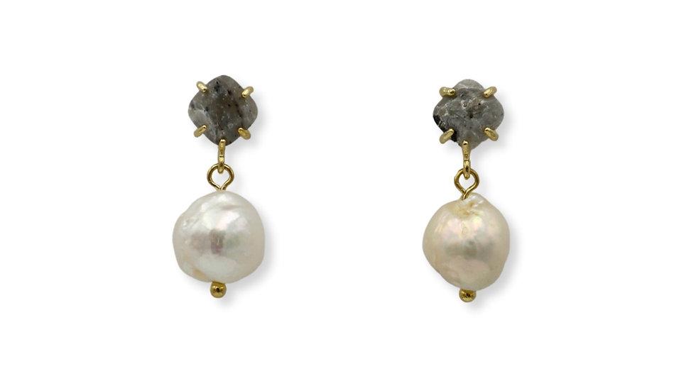 Labradorite Stud Pearl Drop Earrings