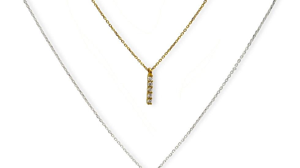 Cubic Stick Silver Necklace