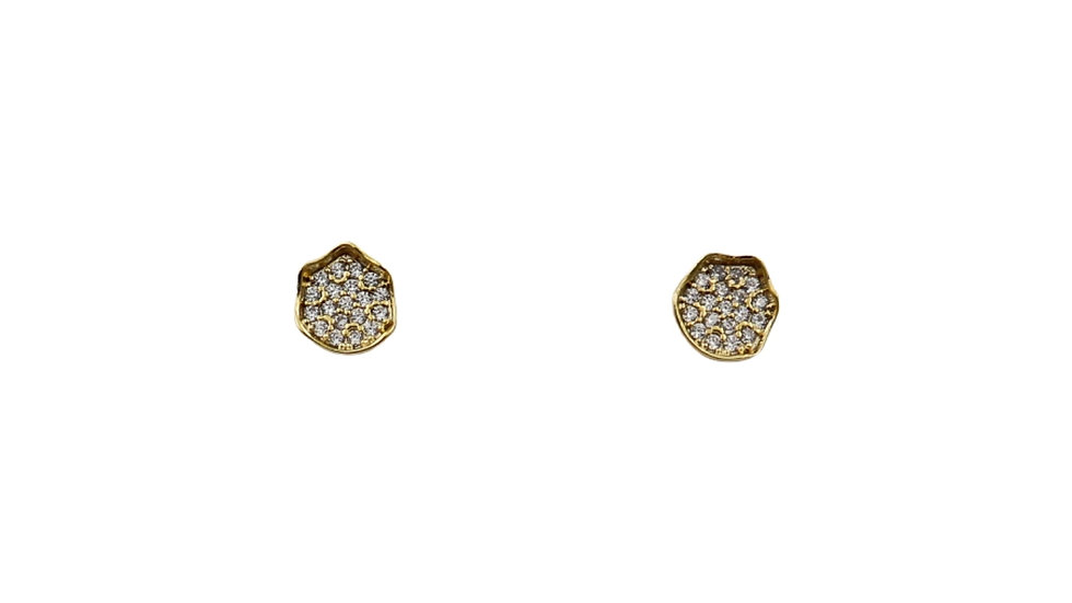 Round Cubic Stud Earrings