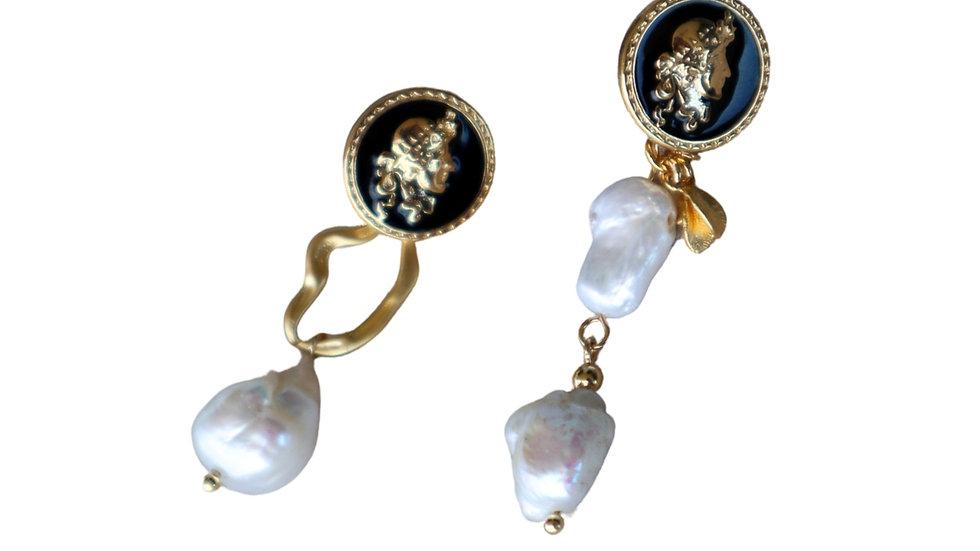 Black Enamel Coin Pearl Earring