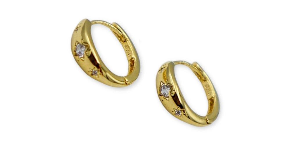 Shine Gold Plated Silver Huggie Earrings