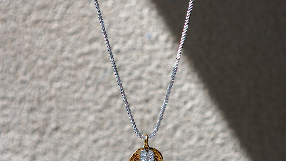 Coin Two Tone Silver Necklace