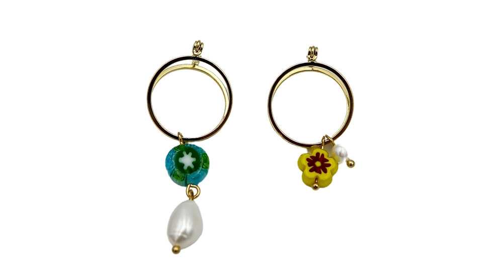 Dew Unbalanced Hoop Earring
