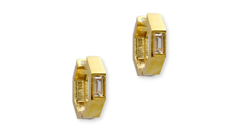 Hex Baguette Gold Plated Silver Huggie Earrings