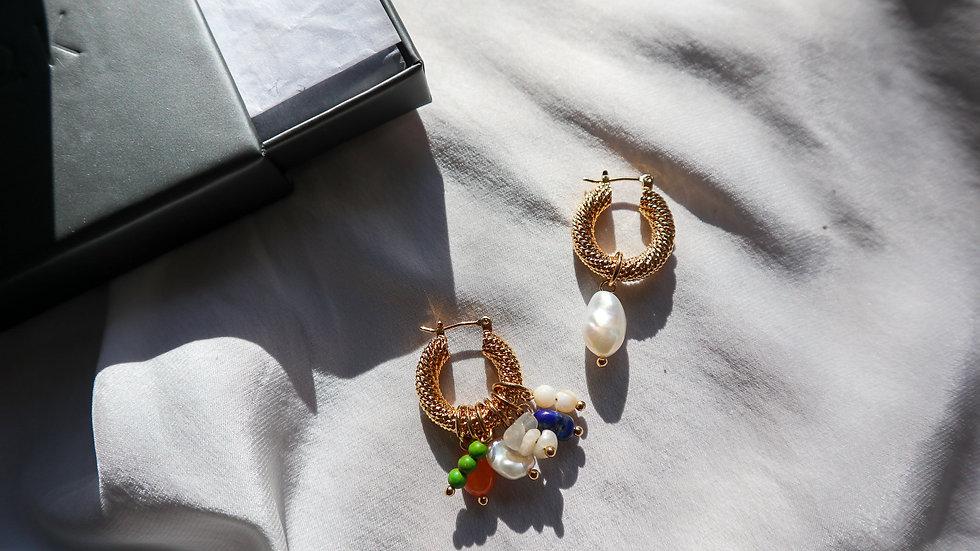 Multi Stone Pearl Hoop Earring