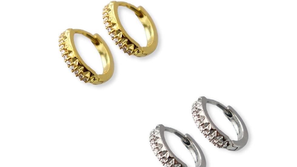 Rockstud Gold Plated Silver Huggie Earrings