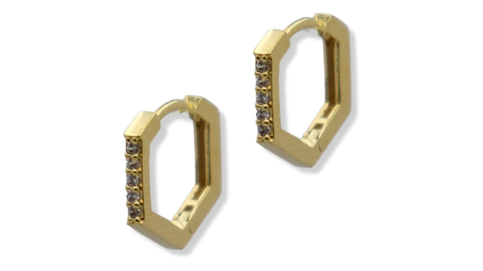 Hex Cubic Gold Plated Silver Huggie Earrings