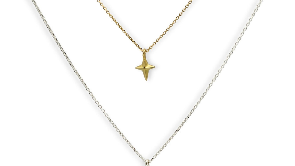 Four Point Star Silver Necklace