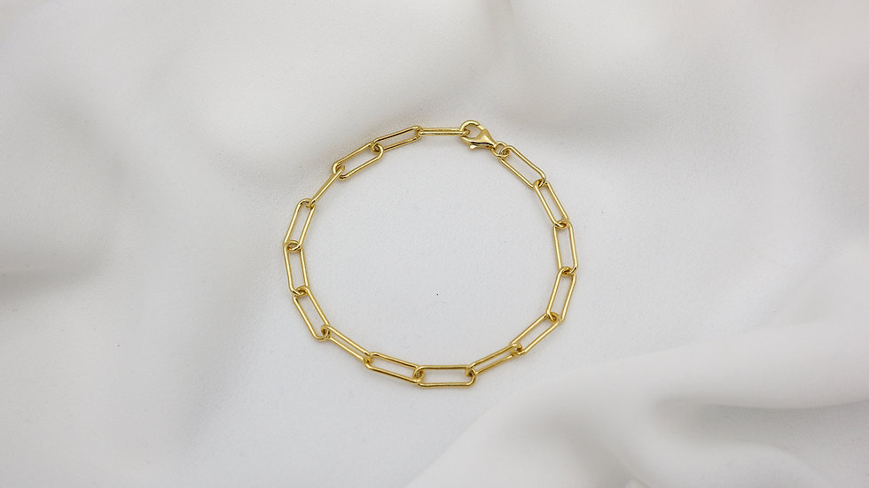 Link Chain Gold Plated Silver Bracelet