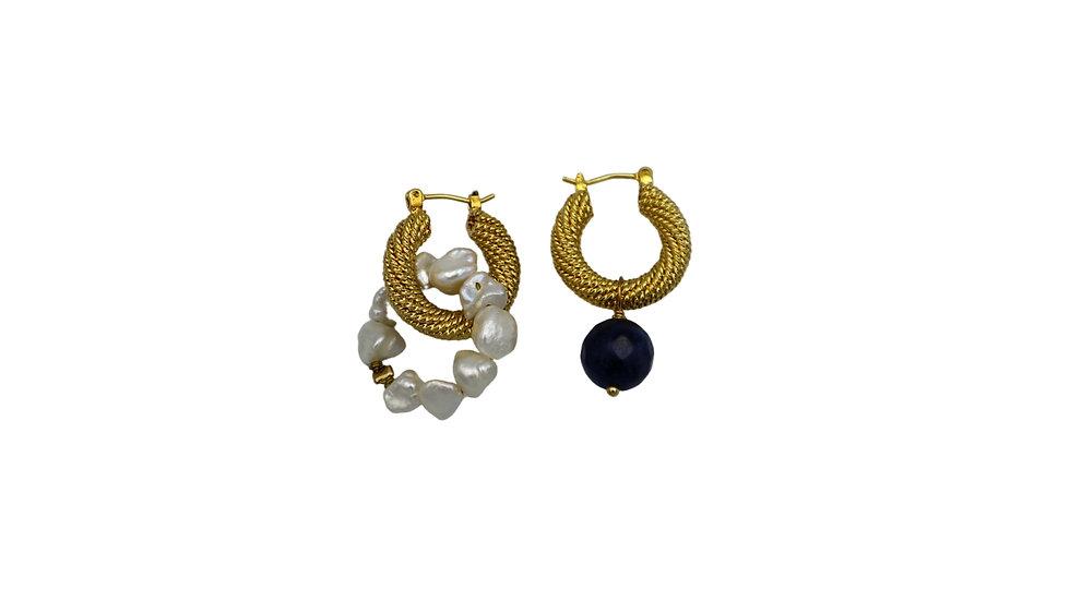 Sodalite Pearl Hoop Earring