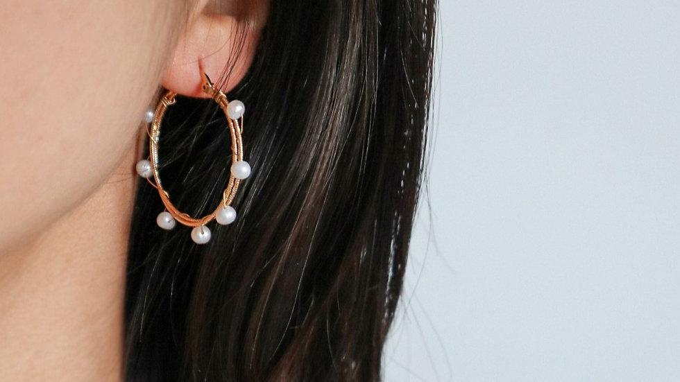 Wire Wrap Pearl Hoop Earrings
