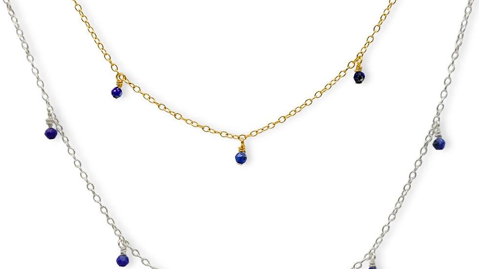 Lapis Drop Silver Necklace