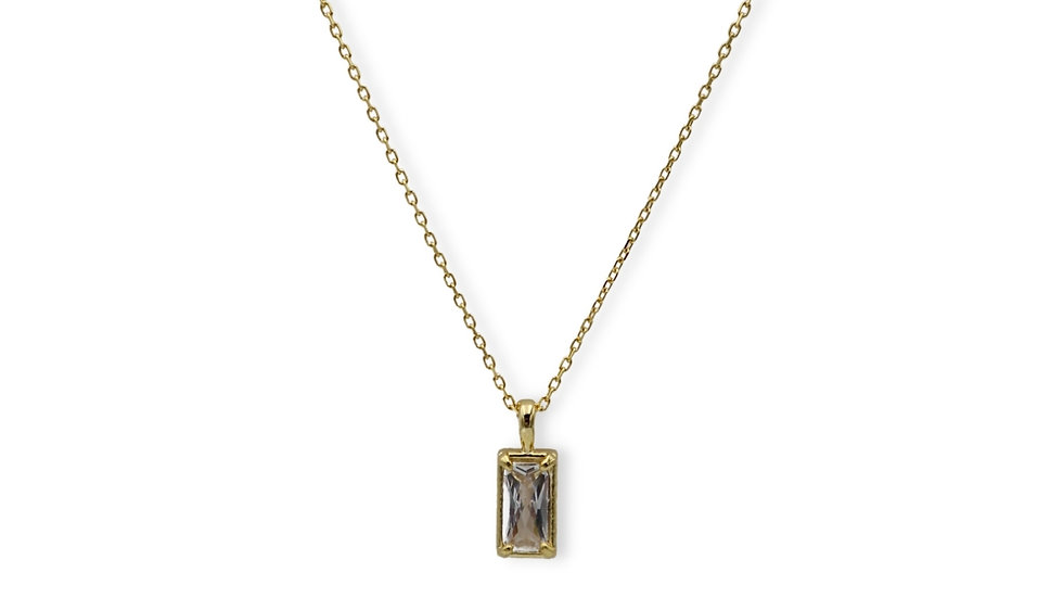 Baguette Gold Plated Silver Necklace