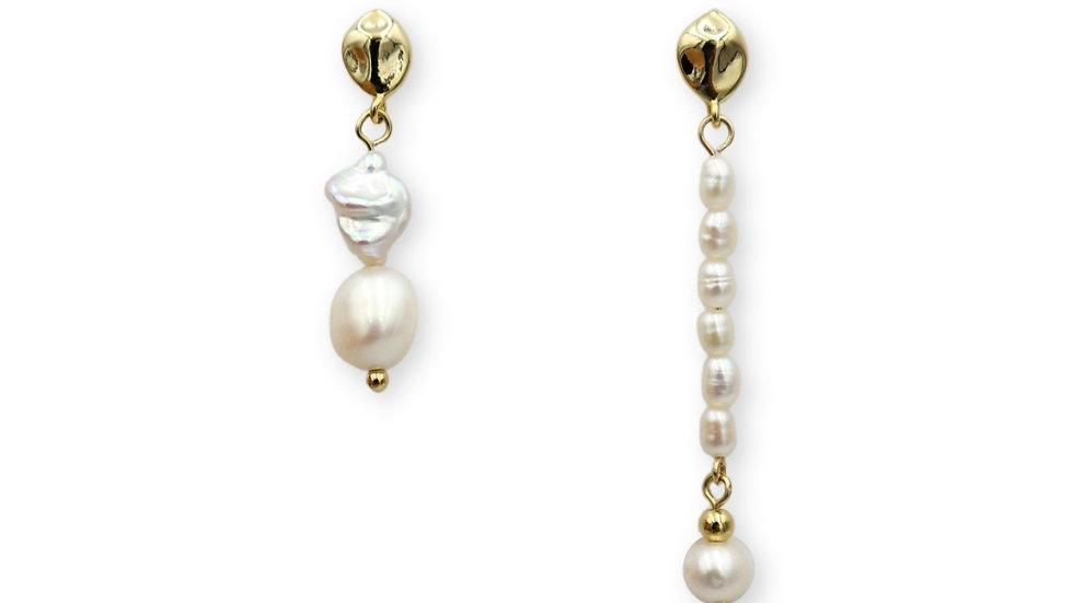 Amber Pearl Drop Earrings