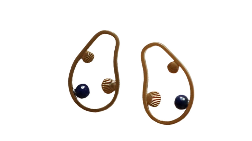 BGBL01 Alley Earring - Lapis / Pearl