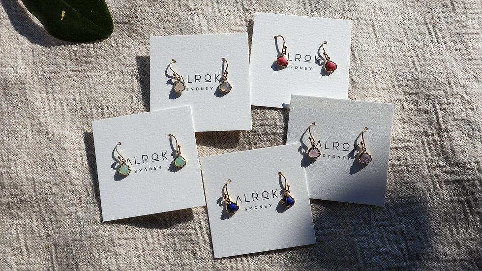 Small Simple Stone Hook Earrings
