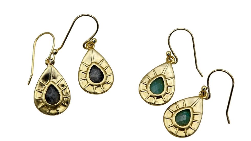 Daria Drop Earrings Labradorite / Green Aventurine