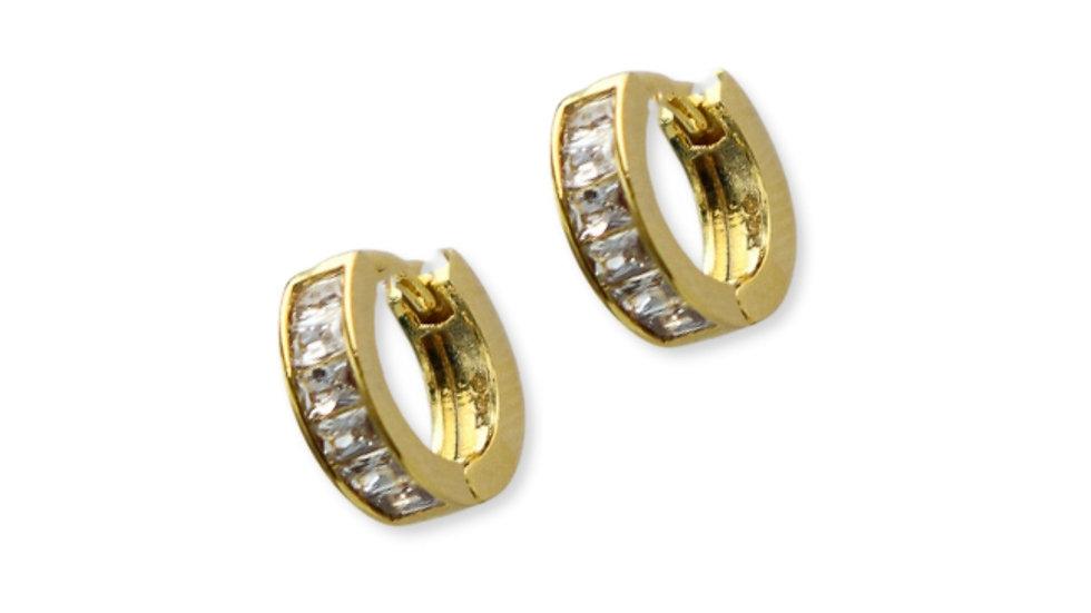 Baguette Gold Plated Silver Huggie Earrings