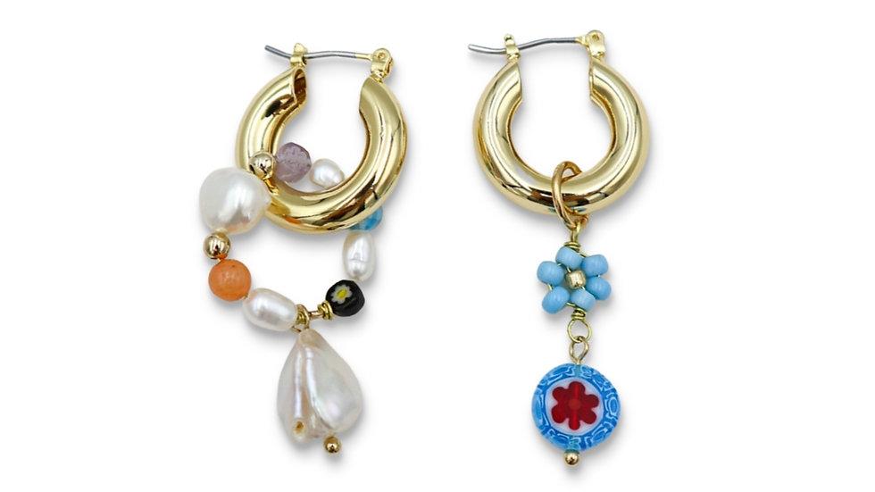 BI Unbalanced Hoop Earrings