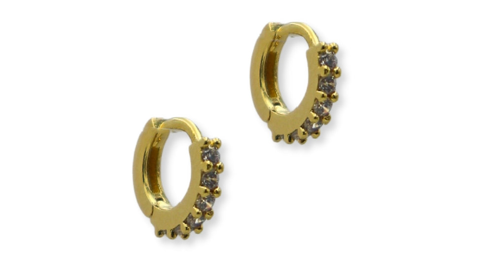 Cubic Gold Plated Silver Huggie Earrings