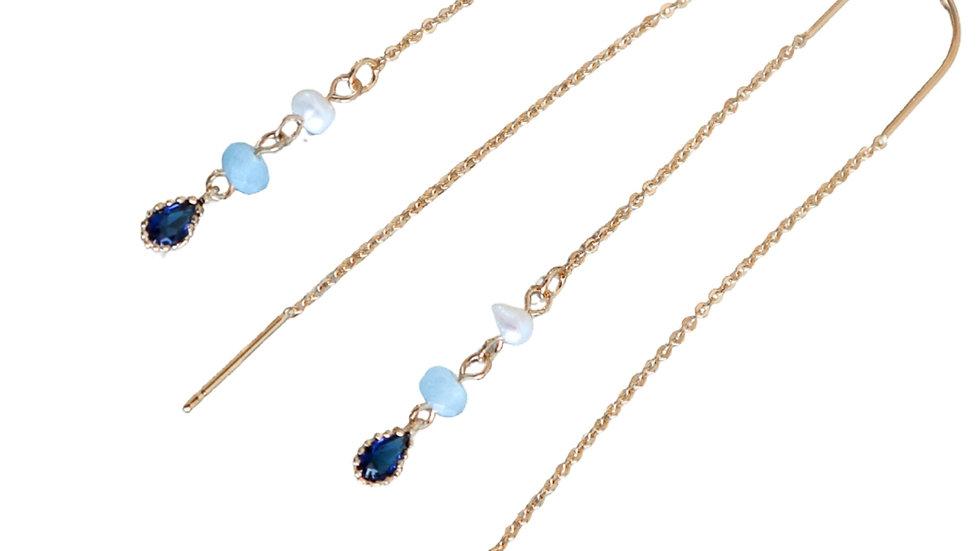 3 Stone Pear Drop Threader Earrings