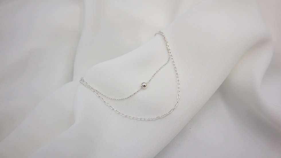 Double Chain Silver Anklet