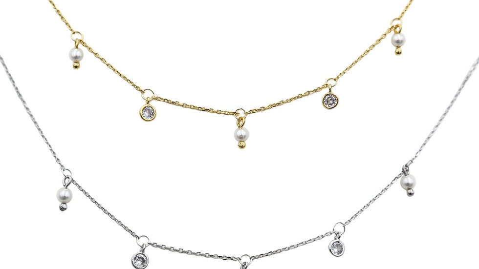 Time Pearl Silver Necklace