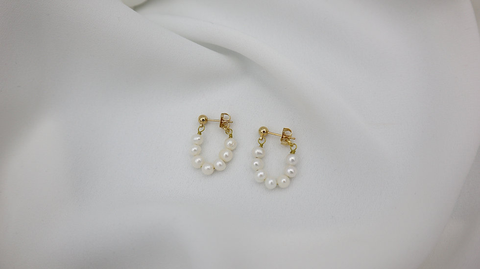Pearl Link Stud Earrings