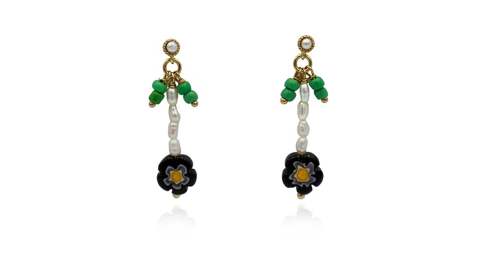 Floral Pearl Dangle Earring