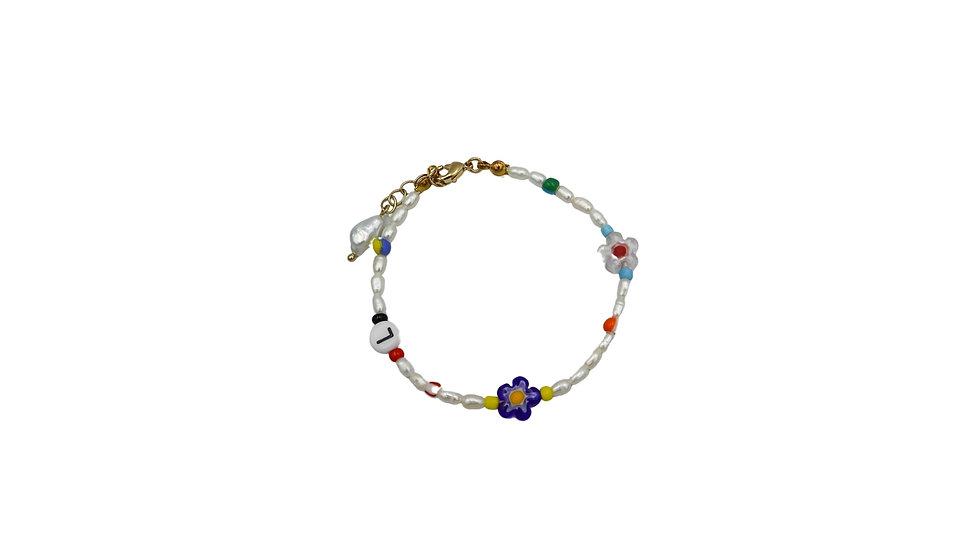 Floral Pearl Initial Bracelet