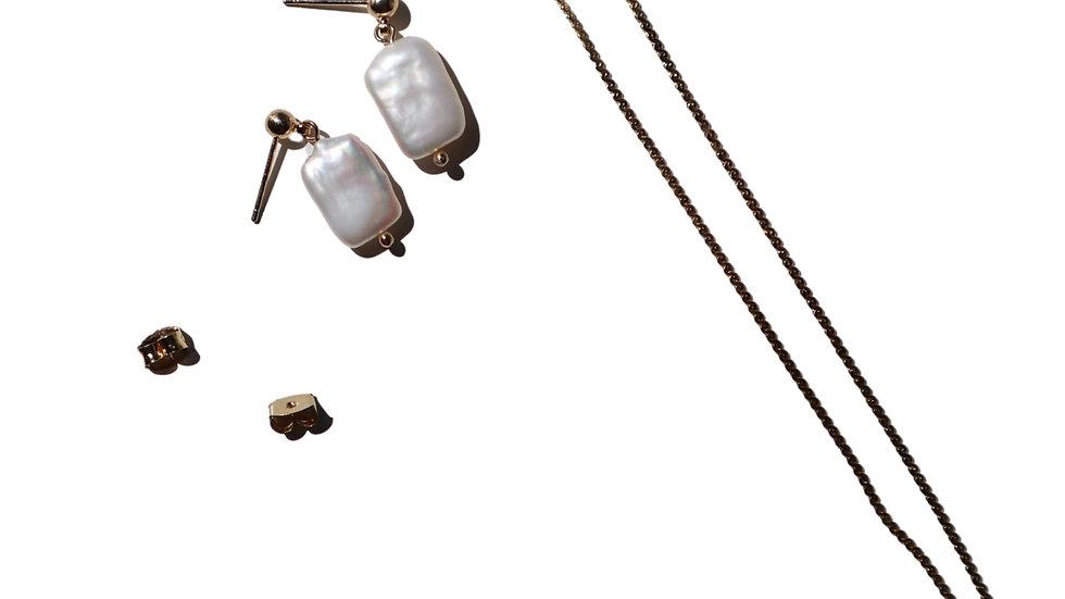 Two way Pearl Snake Chain Earrings