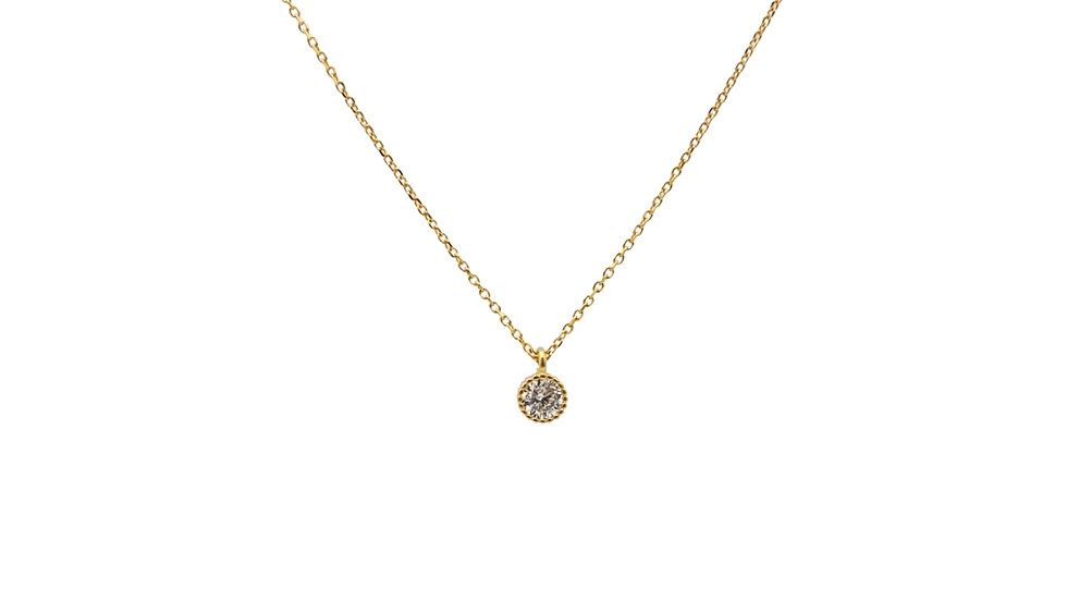 Tiny Cubic Gold Plated Silver Necklace