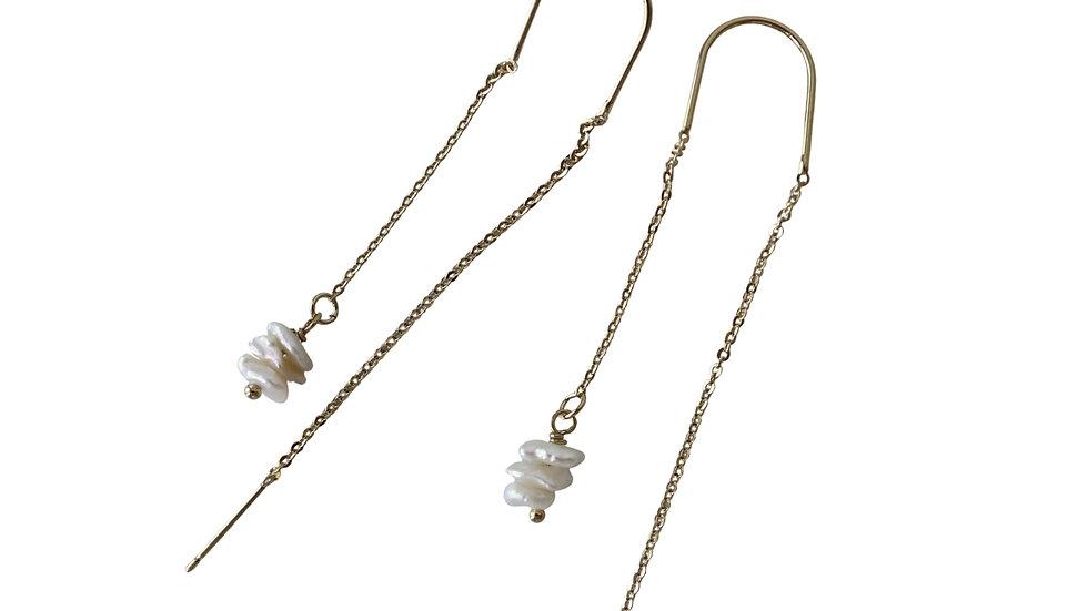 BGFP12 Baroque Pearl Chips Threader Earring