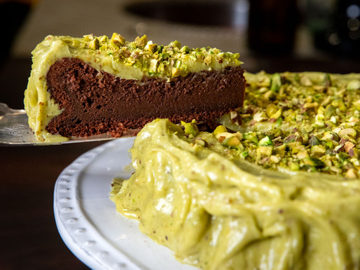 Flourless Chocolate Cake with Local Organic Pistachio Cream