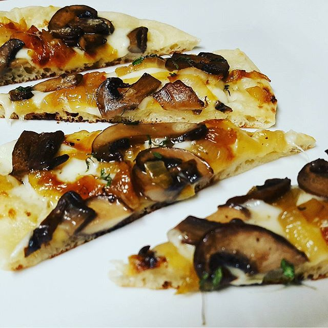 Caramelized Onion and Marsala Mushrooms with Mozzarella,  Garlic Sauce
