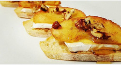 Roasted Apple,  Cinnamon, Brie Cheese and Toasted Pecans with a drizzle of Honey