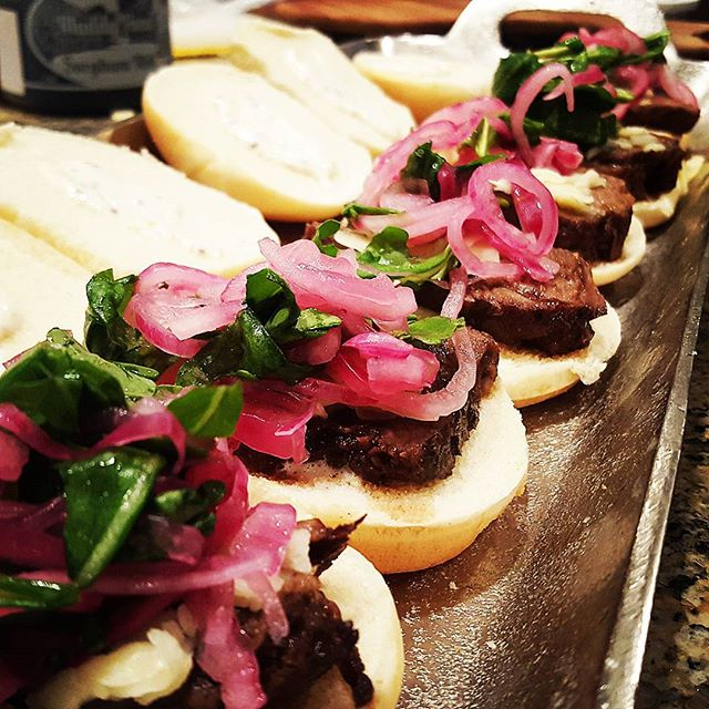 Braised short rib, pickled red onion and arugula, gruyere cheese, mustard aioli slider