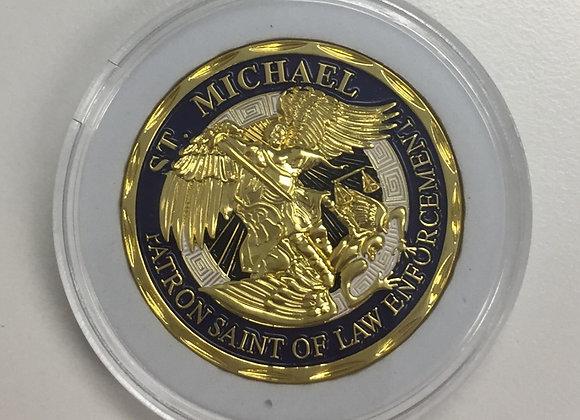 Gold St Michael Patron Saint of Law Enforcement Coin
