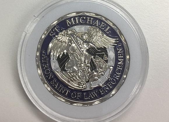 Silver St Michael Patron Saint of Law Enforcement Coin